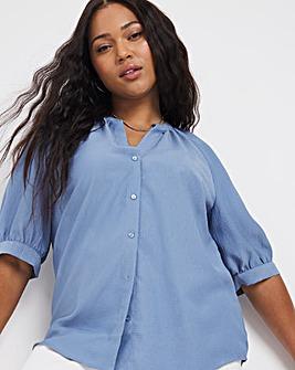Blue Textured Button Front Blouse