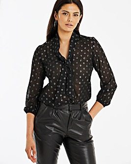 Black and Silver Dobby Pussybow Blouse