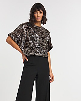 Copper Foil Print Relaxed Fit Blouse