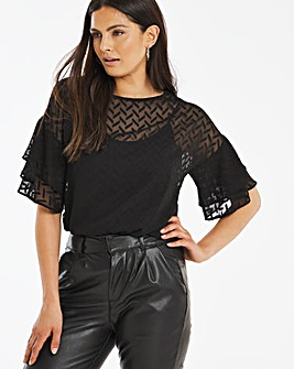 Black Dobby Fluted Sleeve Top with Cami