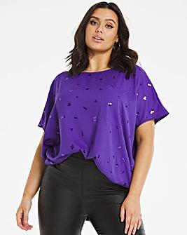 Violet Embellished Cocoon Style Blouse