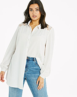 Ivory Lace Oversized Shirt