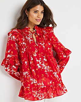 Red Floral Tie Neck Ruffle Trim Peasant Blouse