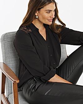 Black Lace Oversized Shirt