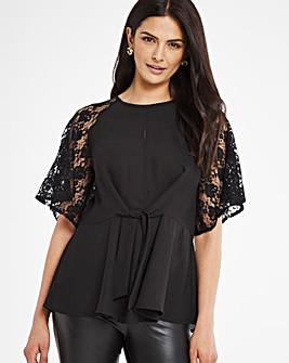 Black Lace Sleeve Knot Blouse