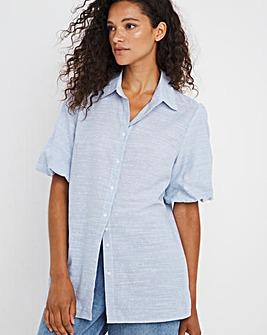 Blue Puff Sleeve Shirt With Dobby Spot