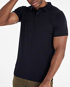 Navy Knitted Short Sleeve Polo Shirt