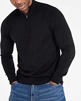 Black 1/4 Zip Neck Jumper
