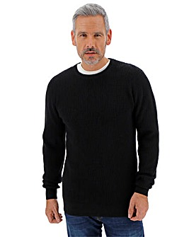 Black Textured Crew Neck Jumper Long