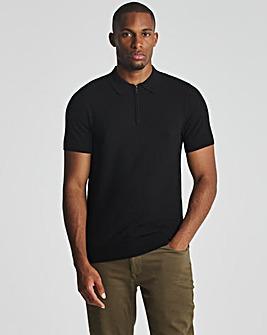 Black Short Sleeve Zip Neck Knitted Polo Shirt
