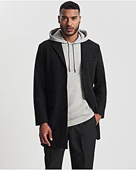 Black Faux Wool Overcoat