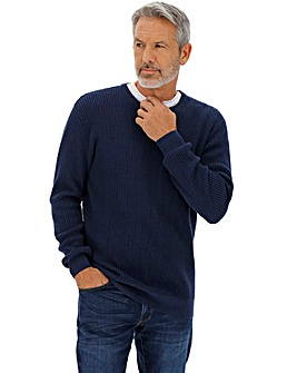 Navy Textured Knit Crew Neck Jumper Long