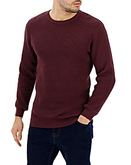 Burgundy Textured Knit Jumper Long