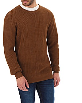 Brown Textured Crew Neck Jumper Long