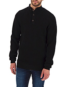 Black Textured Button Neck Jumper Long