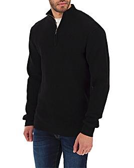 Black Textured Zip Neck Cardigan Long