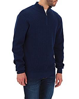Navy Textured Zip Neck Cardigan Long