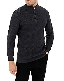 Charcoal Knit Zip Neck Cardigan Long