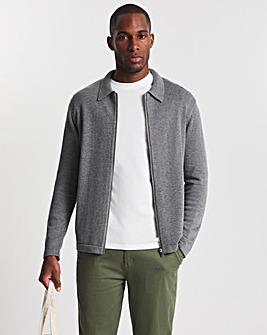 Mid Grey Zip Through Knitted Shirt