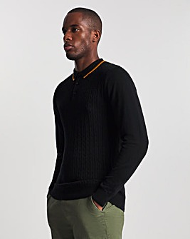 Black Tipped Cable Long Sleeve Knitted Polo