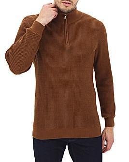 Textured Knit Zip Neck Cardigan Long
