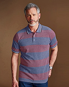 WILLIAMS & BROWN Short Sleeve Stripe Polo Shirt Longer