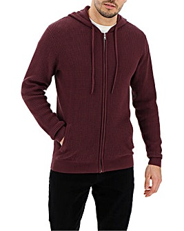 Burgundy Knit Hooded Zip Cardigan Long