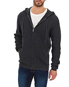 Charcoal Hooded Zip Cardigan Long