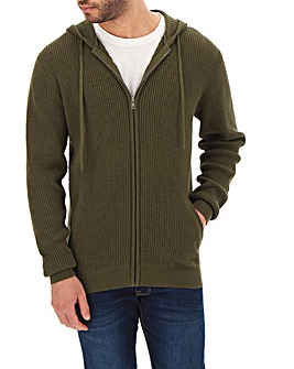Khaki Textured Hooded Zip Cardigan Long