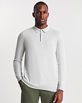 Grey Marl Cashmere Long Sleeve Knitted Polo