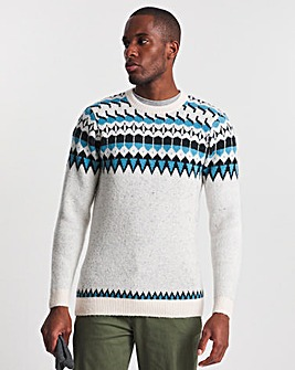 Blue Panelled Fairisle Crew Neck Sweater