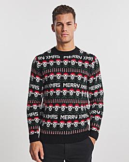 Christmas Fairisle Skull Crew Neck Jumper
