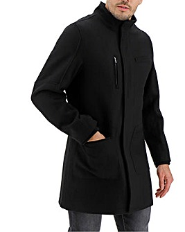Black Funnel Neck Wool Rich Coat Long