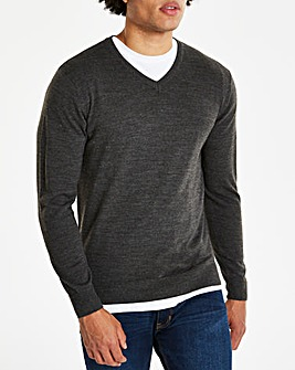 Charcoal V Neck Jumper
