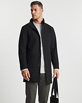 Black Wool Mix Funnel Neck Formal Coat