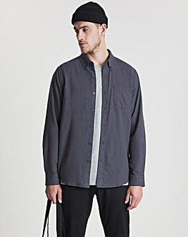 Charcoal Long Sleeve Brushed Flannel Shirt