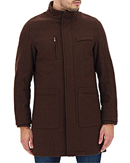 Chocolate Funnel Neck Coat