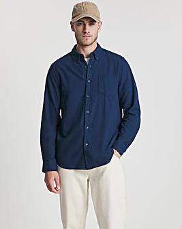 Denim Marl Long Sleeve Brushed Flannel Shirt