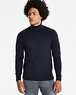 Navy Roll Neck Jumper