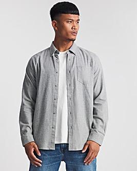 Grey Marl Long Sleeve Brushed Flannel Shirt