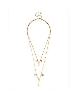 Lipsy Heart Charm Multi Row Necklace