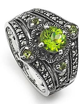 Peridot & Marcasite Vintage Look Ring