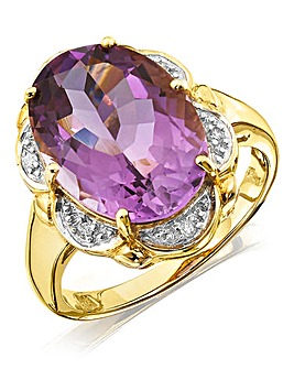 9ct Gold Amethyst & Diamond Ring