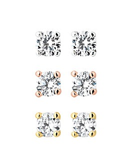 Set of three round cubic zirconia stud earrings