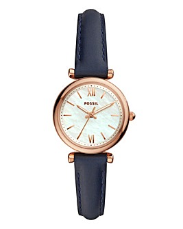 Fossil Ladies Blue Leather Strap Watch