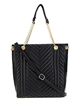 Black Quilted Shopper Bag