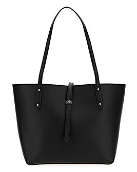 Black Turnlock Detail Tote Bag