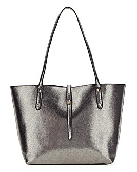 Pewter Turnlock Detail Tote Bag