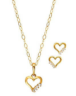 9 Carat Gold Heart Pendant & Earrings