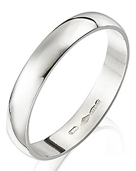 Platinum D Shape Ladies Wedding Band-3mm